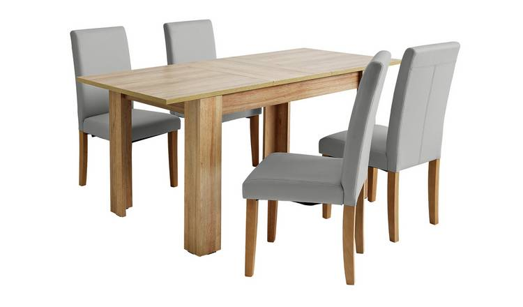 Buy Argos Home Miami Oak Effect Extending Table & 4 Grey Chairs .