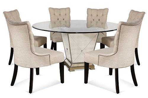 "Furniture Marais Dining Room Furniture, 7 Piece Set (60"" Mirrored ."