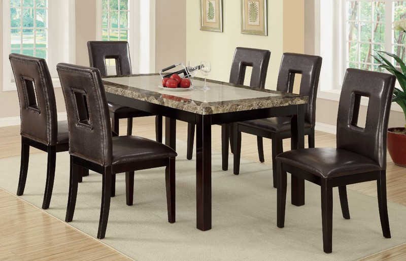 7pc Stockton Marble Top + 6 Chairs Dining Table S