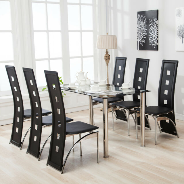 7Pcs Dining Table Set 6 Chairs Glass Metal Kitchen Room Furniture .