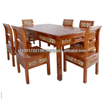 Antique Dining Table Set and 6 chairs wooden carved furniture .