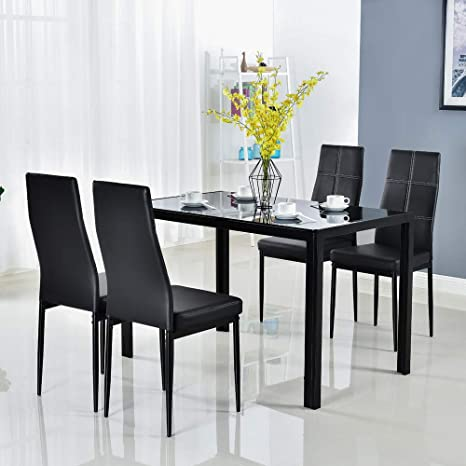 Amazon.com - Bonnlo 5 Pieces Dining Set Black Dining Table and .