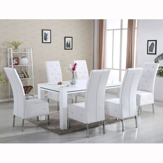Diamante Dining Table In White High Gloss With 6 Asam Chairs .