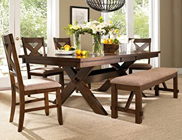 Amazon.com - Roundhill Furniture Karven 6-Piece Solid Wood Dining .