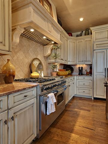 distressed white kitchen cabinets - for Paige...looks great with .