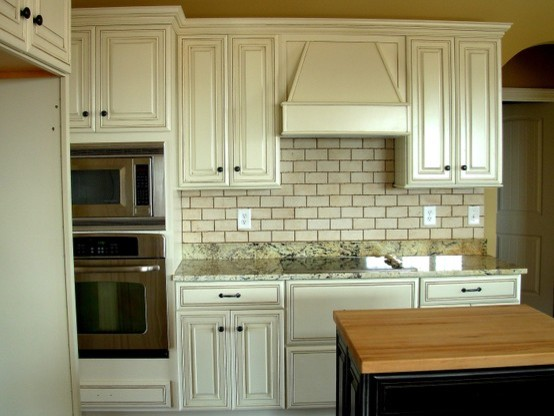 Painted, Distressed Kitchen Cabinets - Traditional - Kitchen .