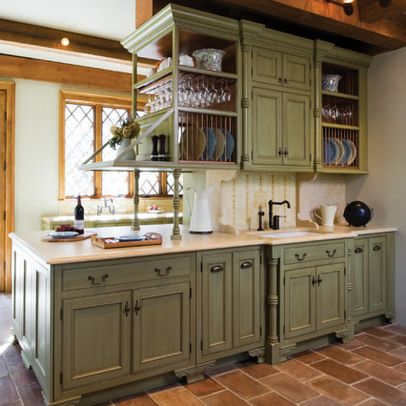 Unexpected Pop of Color: Kitchen Cabinets | Green kitchen cabinets .
