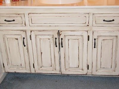 Distressed bathroom cabinets from The Magic Brush, Inc .