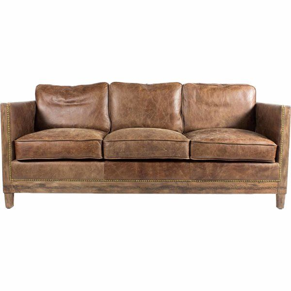 "Sherly Genuine Leather 72"" Square Arm Sofa 