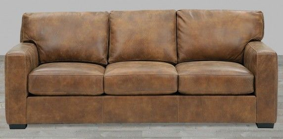 Distressed Brown Top Grain Leather Sofa | Distressed leather couch .