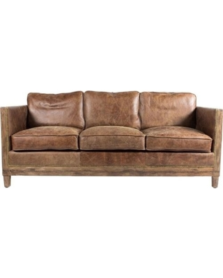 Great Deal on Aurelle Home Monarchy Rustic Distressed Leather Sofa .