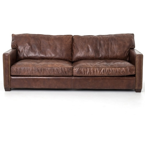 Larkin 3 Seater Vintage Cigar Contemporary Leather Sofa | Zin Ho