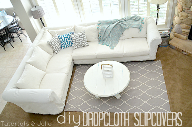 Make a Dropcloth Sofa Sectional Slipcover! - Tatertots and Jel