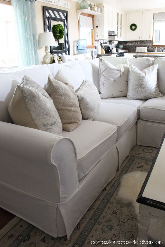 Sectional Slip Cover Reveal | Sectional sofa slipcovers, Sectional .
