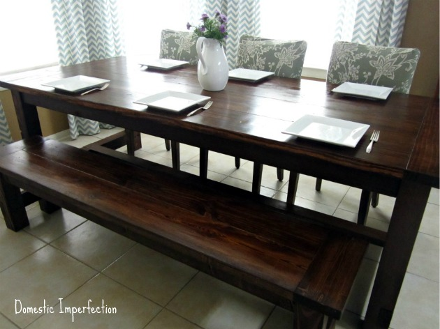 DIY Farmhouse Table and Bench - Domestic Imperfecti