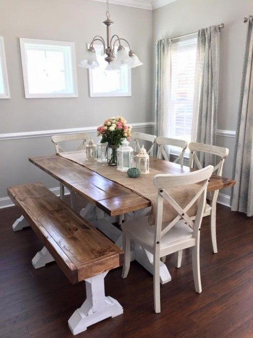 Farmhouse Table & Bench | Farmhouse dining room table, Dining .
