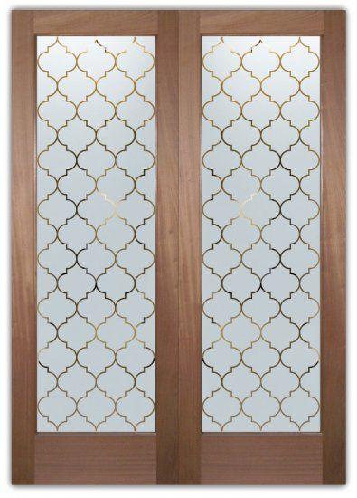 Interior Frosted Glass Doors Etched Ogee Pattern Door | Door glass .