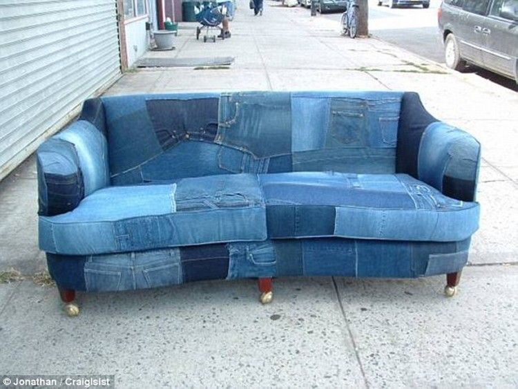 Recycled Denim Jeans Sofa Covers | Denim furniture, Denim sofa .