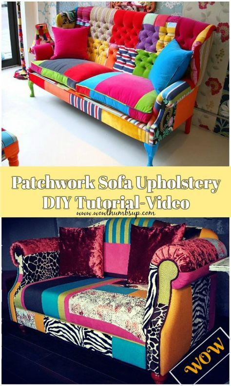 DIY Patchwork Sofa Upholstery Tutorial Video Guide | Patchwork .