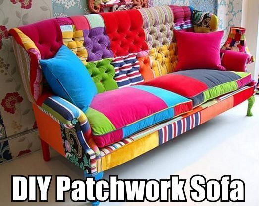 DIY Patchwork Sofa | Patchwork furniture, Patchwork sofa, Dec
