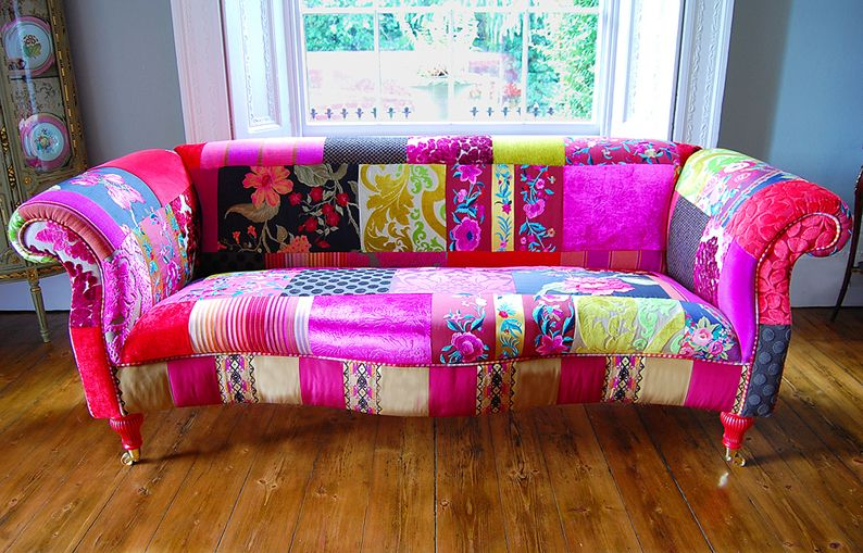 Patchwork frenzy in home furnishings | Patchwork sofa, Sofa .