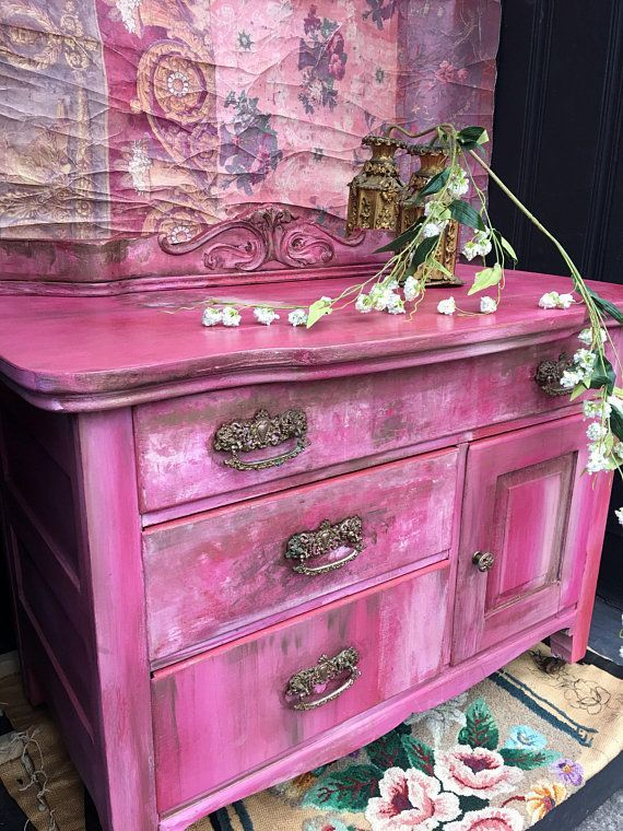 Bohemian Pink Vintage Cabinet Bedside Table Shabby Chic .