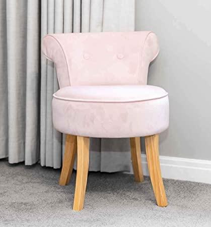 SR Pink Velvet Vanity Dressing Table Stool Natural Wooden Legs .