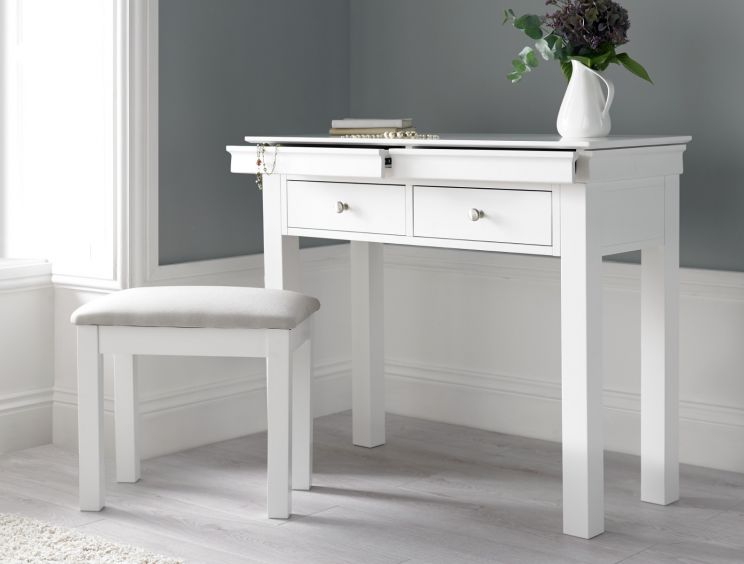 Chateaux White Dressing Table & Stool - time4sle