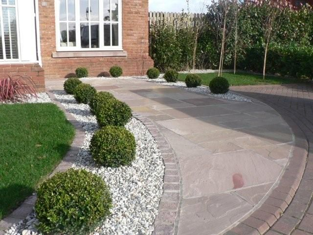 low maintenance landscape - and well draining driveway border .