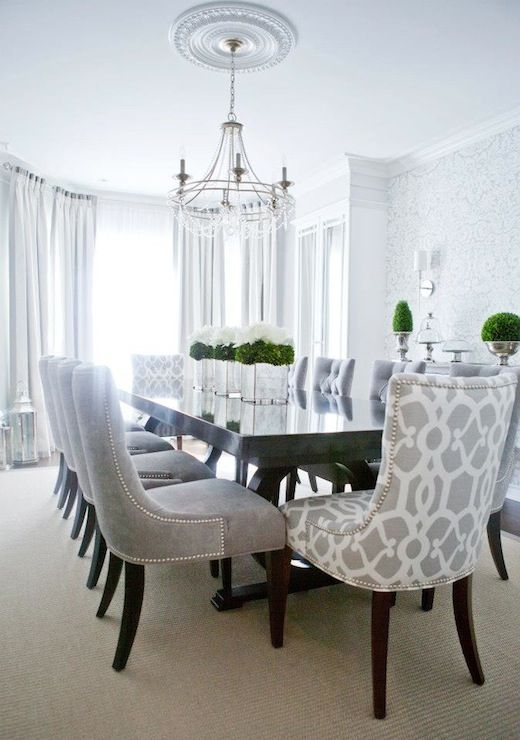Lux Decor: Elegant dining room with silvery gray damask wallpaper .