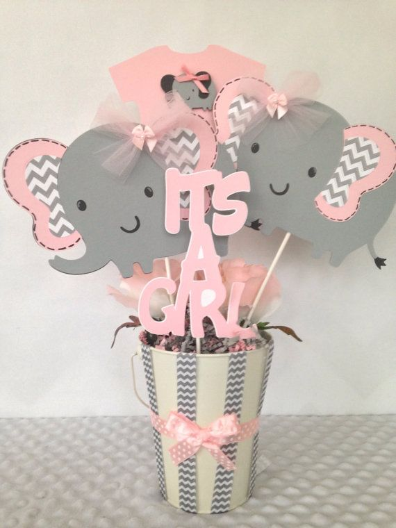 Ideas for Baby Shower Centerpieces | Elephant baby shower .