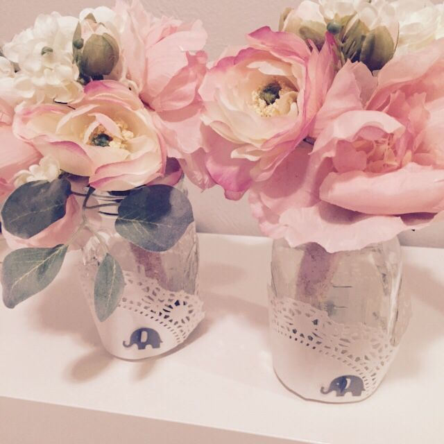 Diy baby shower flower centerpieces in mason jars. Elephant themed .