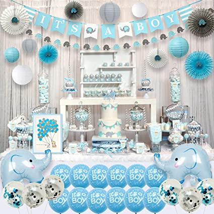Amazon.com: Ajworld Blue Elephant Baby Shower Decorations for Boy .