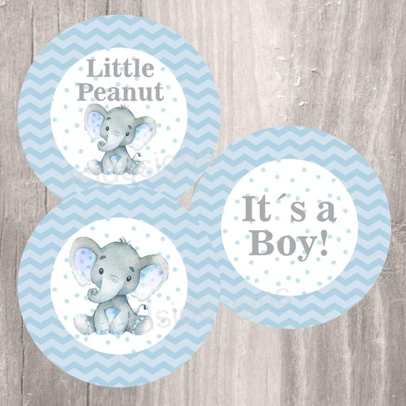 Blue Elephant Baby Shower Printable Centerpieces Instant | Et