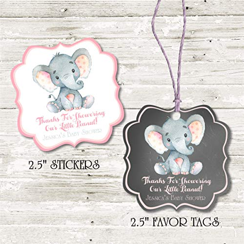 Amazon.com: Girls Pink Elephant Baby Shower Favor Stickers, Boys .