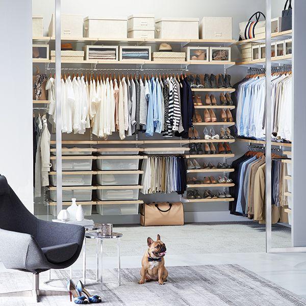 Birch & White elfa décor Walk-In Closet | Elfa shelving, Container .