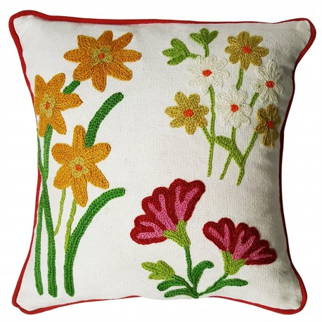 Mehrunnisa Exclusive Kashmiri Hand Embroidered Cushion Cover .