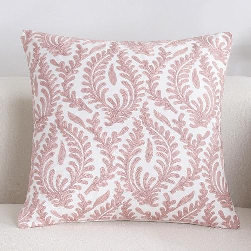 Scandinavian embroidery cushion cover - pink - Floral – Indimo