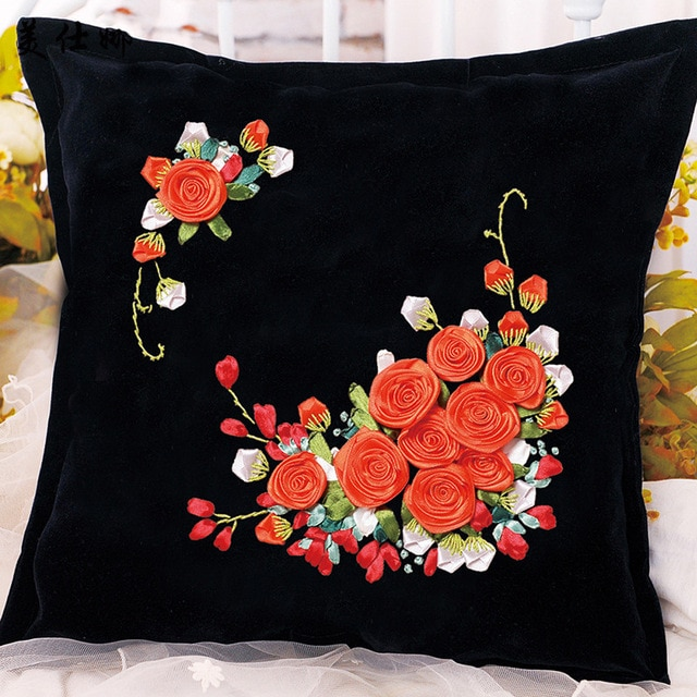 Roses Flowers Ribbon Embroidery Kit Toolkit Cushion Covers Pillow .