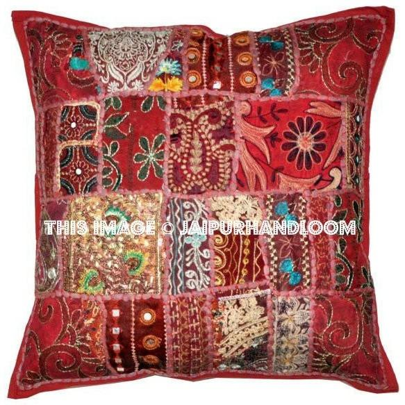 24 x 24 Red Throw Pillows for couch Indian Embroidered Cushion Cove