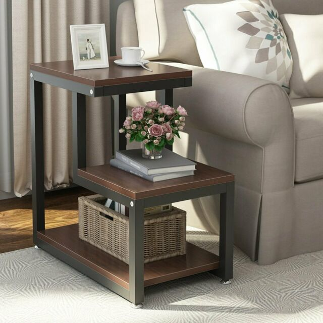 Chair End Table Side Living Room Furniture Wood Storage Shelf .