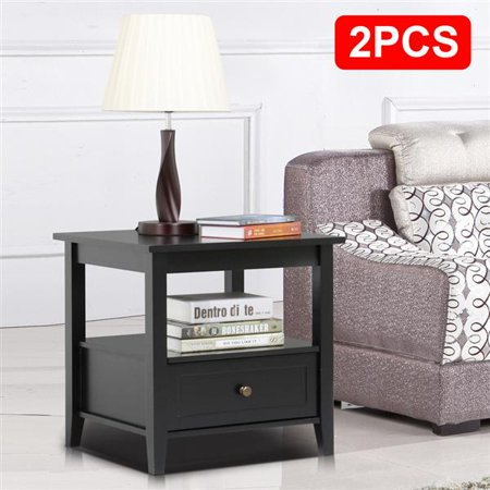 Yaheetech Black End Table with Bottom Drawer and Open Storage .