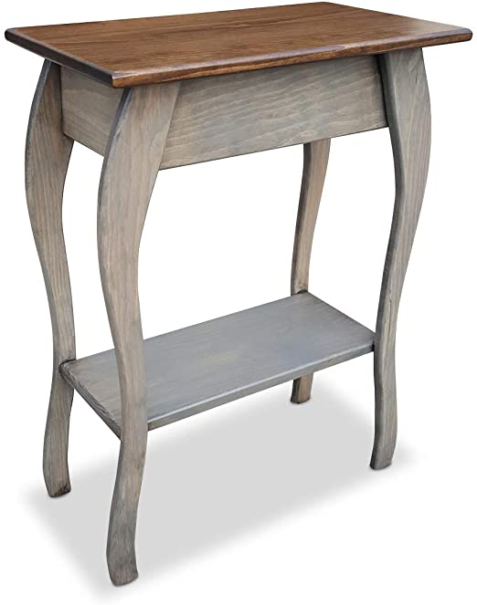 Amazon.com: Slim Wooden End Table Amish Furniture | Thin Narrow .
