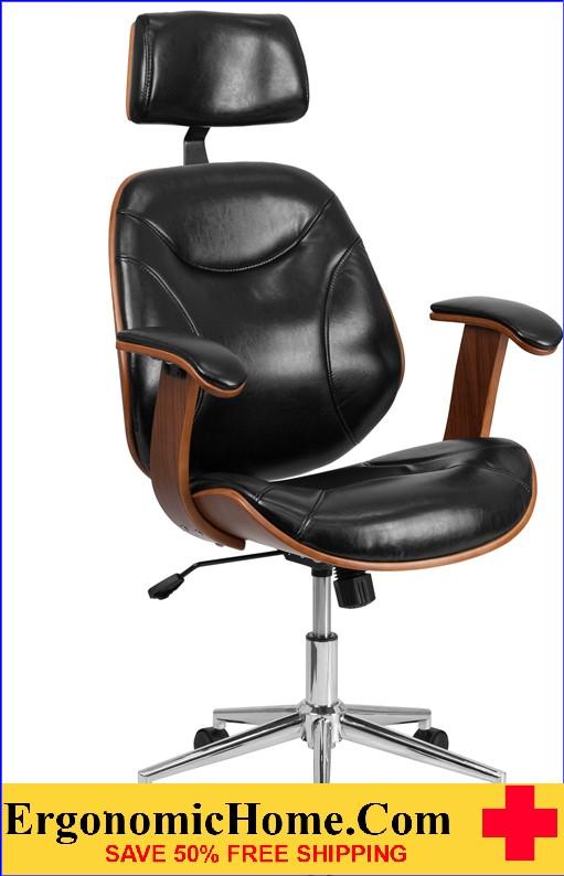 Ergonomic Home High Back Black Leather Executive Wood Swivel .