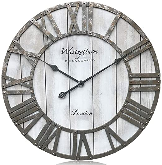 Amazon.com: Westzytturm Wooden Clock 24 inch Rustic Extra Large .