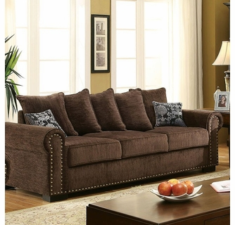 Rydel Brown Chenille Fabric Sofa by Furniture of Ameri