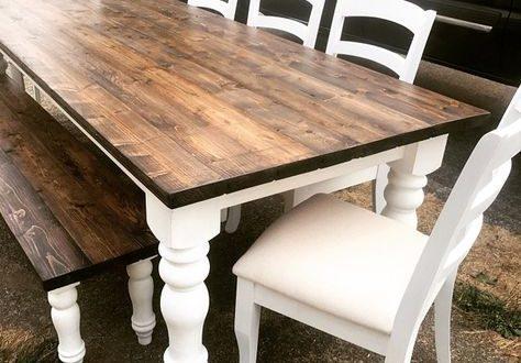 DIY farmhouse table made for $250 using chunky farmhouse legs .