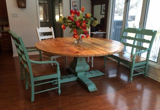 Custom Reclaimed Wood Round Urn Pedestal Farmhouse Table by .