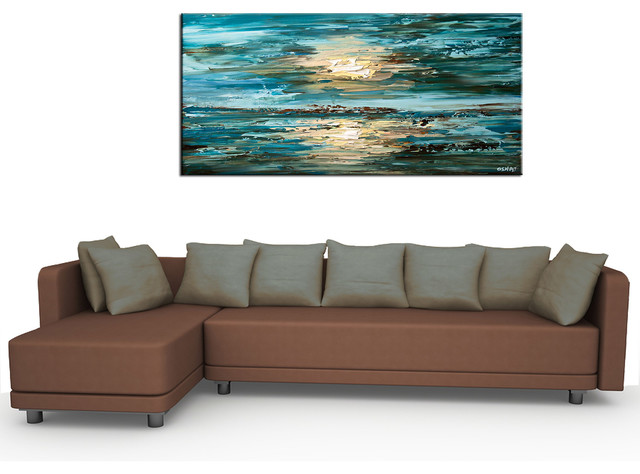 Contemporary abstract paintings - Modern - Living Room - San .