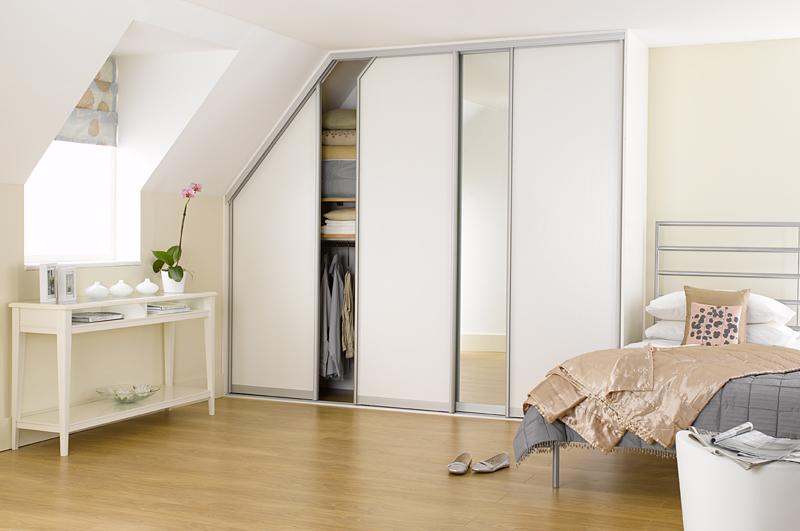 Sliderobes fitted sliding door wardrobes in white ash & mirror .